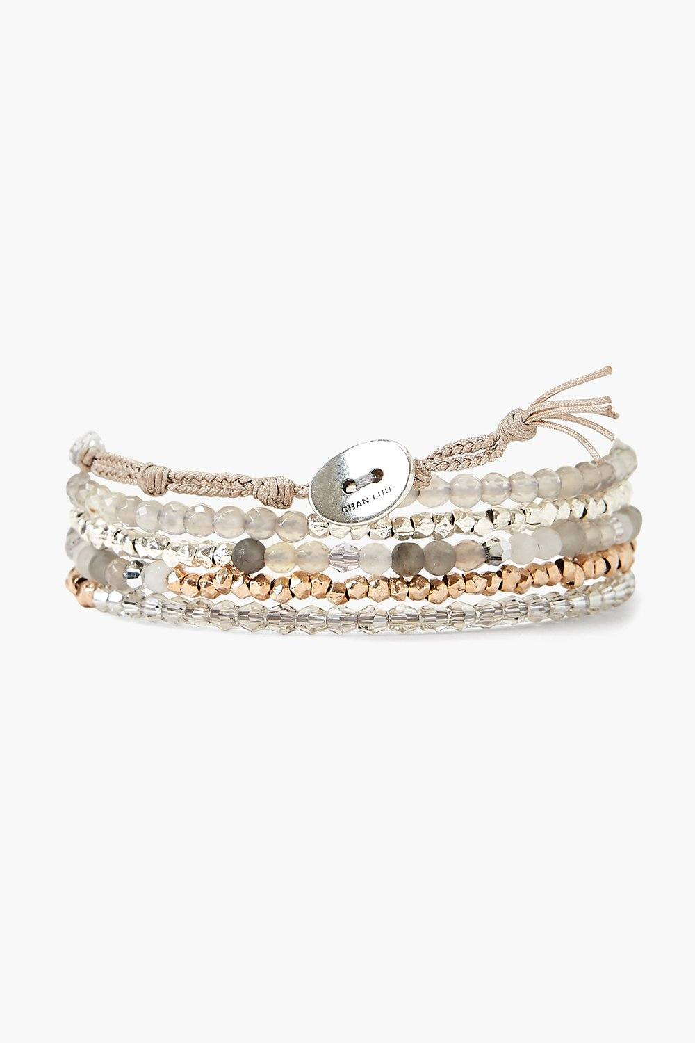 Chan Luu Grey Onyx Mix Naked Wrap Bracelet