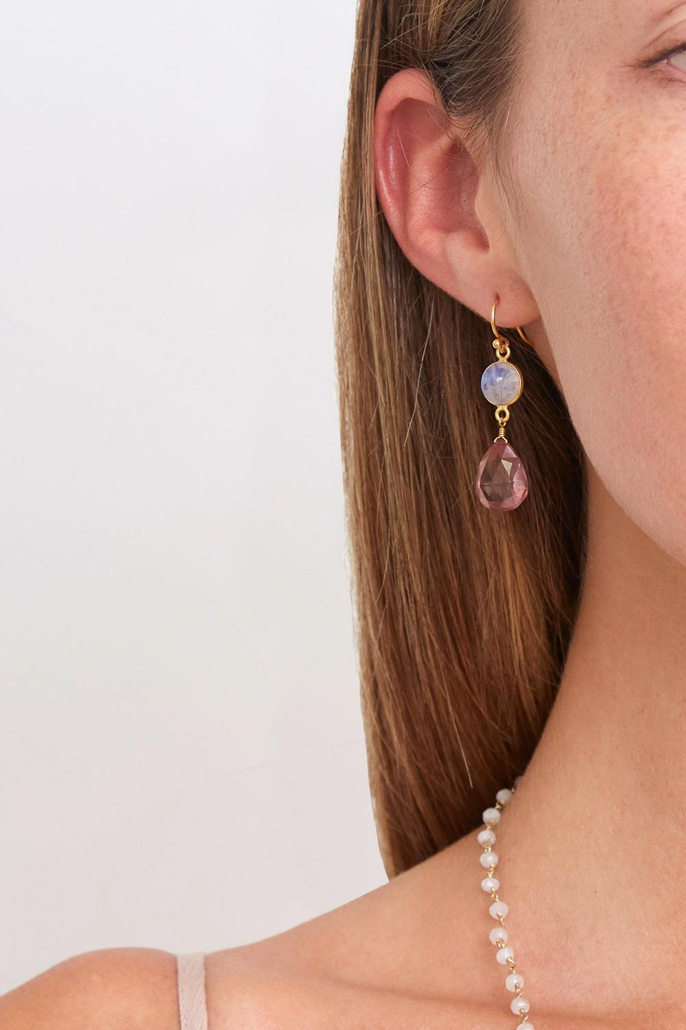 Chan Luu Pink Crystal And Moonstone Teardrop Earrings