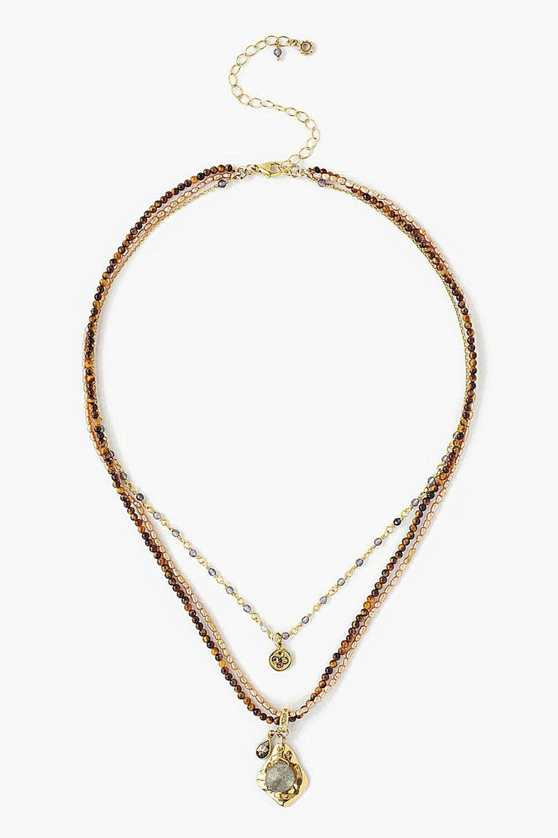 Chan Luu Tiger's Eye Mix Multi-Strand Necklace