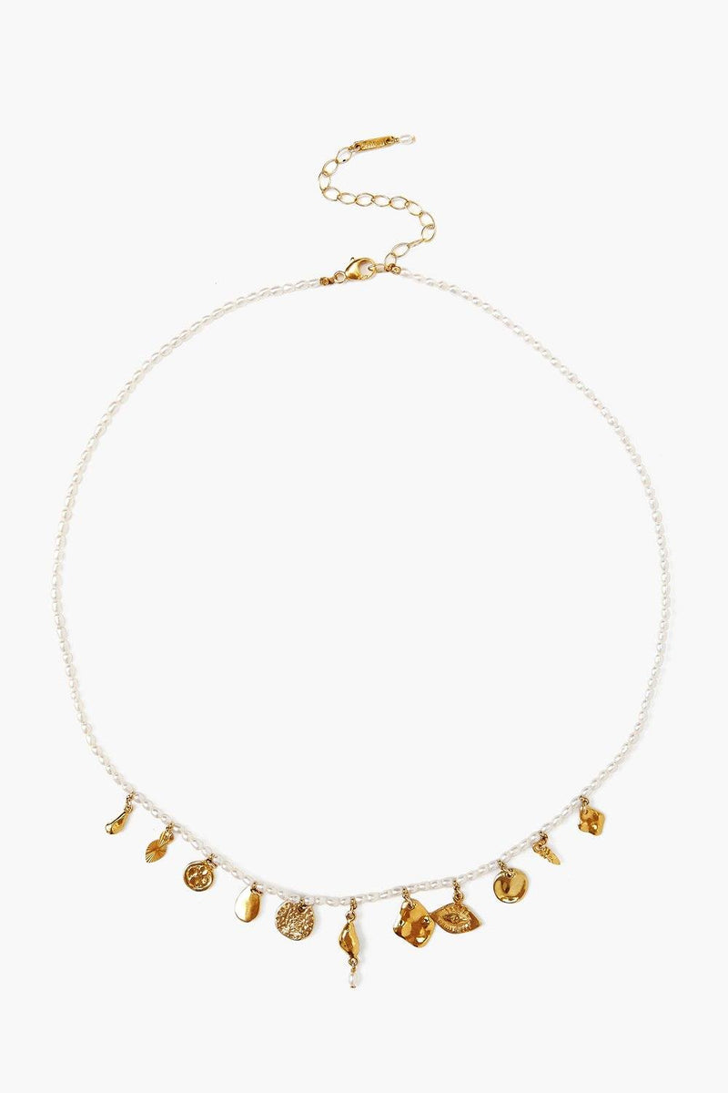 Chan Luu White Pearl And Gold Charm Necklace