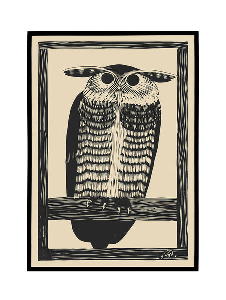 Lithography Owl Poster