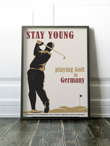 Playing Golf in Germany Poster