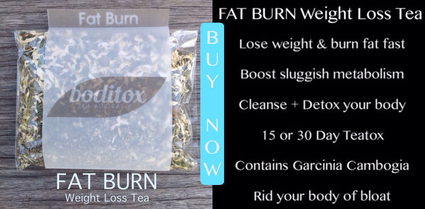 Boditox FAT BURN weight loss tea. Lose weight and burn fat fast. Contains Garcinia Cambogia for superior fat burning results. 100% Organic weight loss teatox