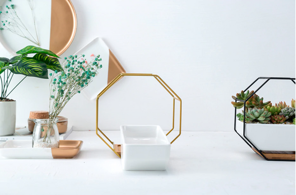 Geometric Ceramic Hanging Planter