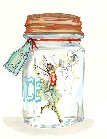 Fairy Art- Burning Bliss Project Phoenix Bonnie fairy in a jar