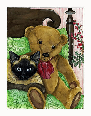 Cat Art- Teddy bear cuddling with Siamese on a bed