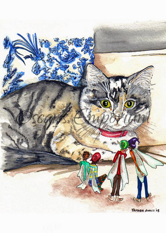 Fairy art- Large cat watching four Fairies looking back at him