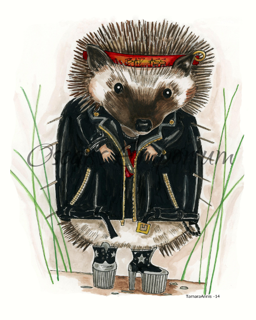 Woodland Creature  Art- Hedgehog in leather jacket Bad Ass Dave Southmore Shore