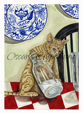 Cat Art- Thirsty cat with his paw in an old fasioned milk bottle