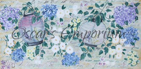 Flower Art- Garden lanterns among lilac, hydrangea and daisies