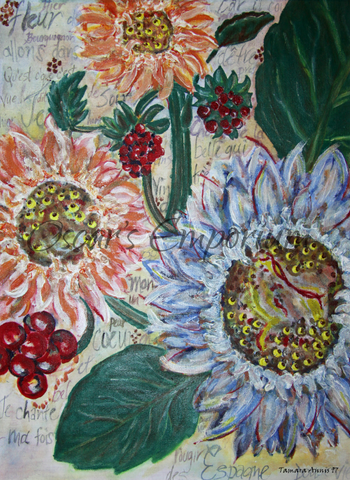 Flower Art- Sunflowers of different colours and sizes
