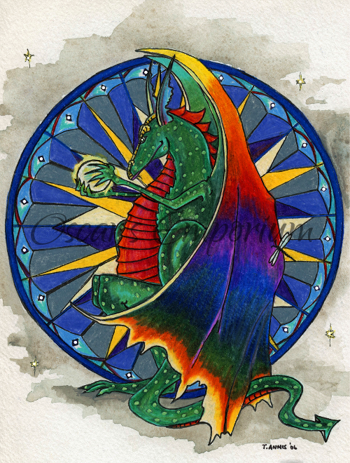 Fantasy Art- Colourful dragon holding crystal ball with striking blue background