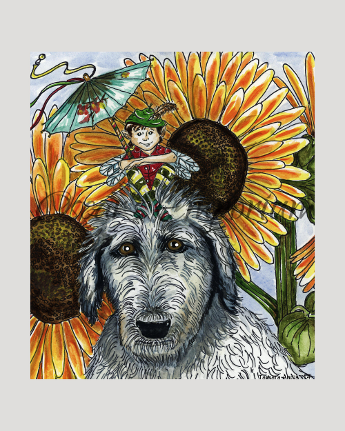 Fairy Art- Young boy fairy sitting on grey irish wolfhounds head with sunflowers in the background