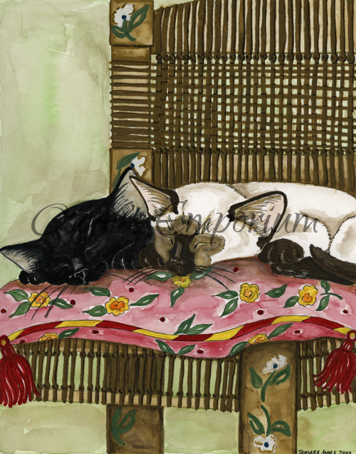 Cat art- Two kitties asleep on wicker chair