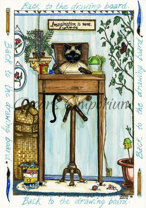 Cat Art- Siamese sitting at a desk going back to the drawingboard