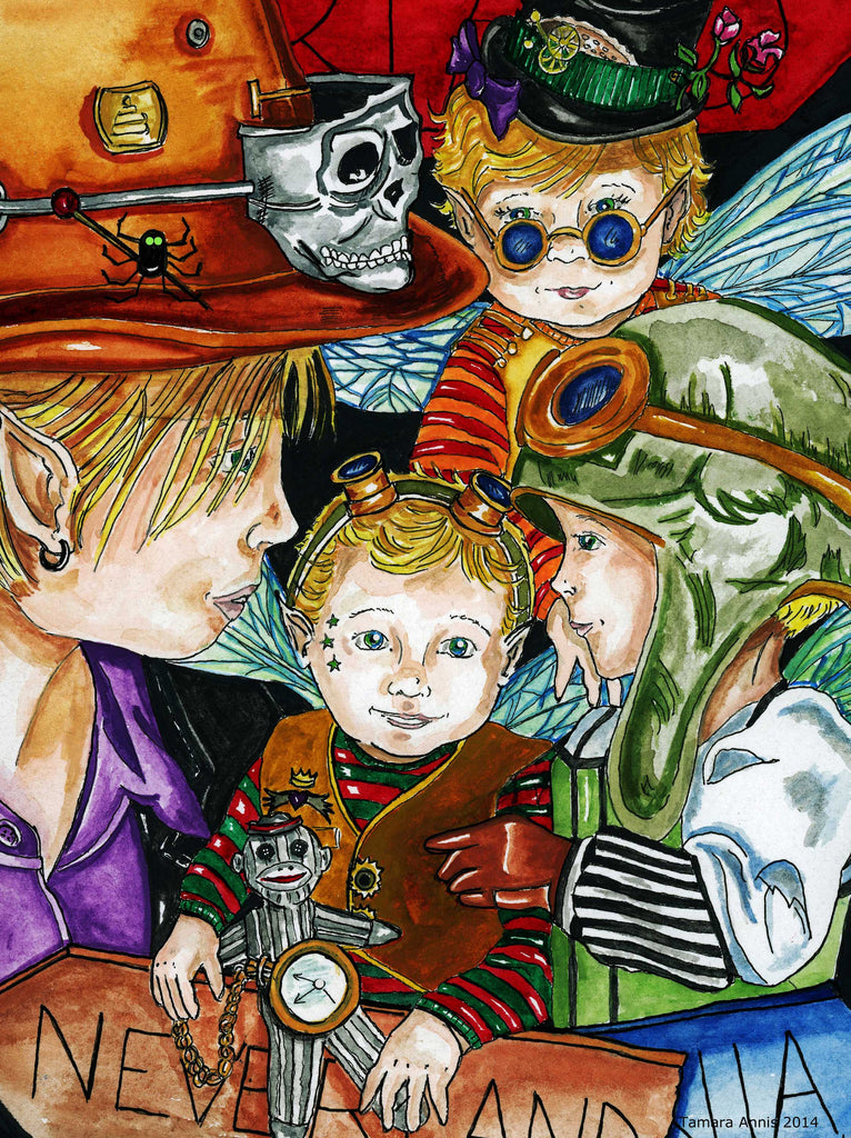 Fairy Art- Four young boy fairies with a steampunk theme