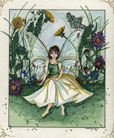 Fairy Art- Angelic fairy sitting among flowers