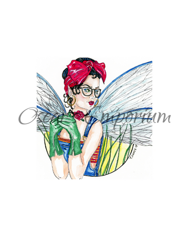 Fairy Art- Pinup Fairy in gardening clothes