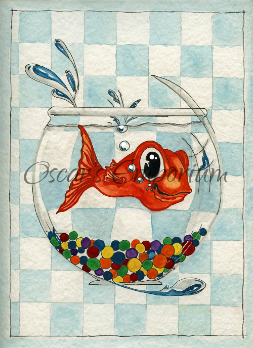Fish Art- Large goldfish looking happy in his undersized bowl with coulorful marbles
