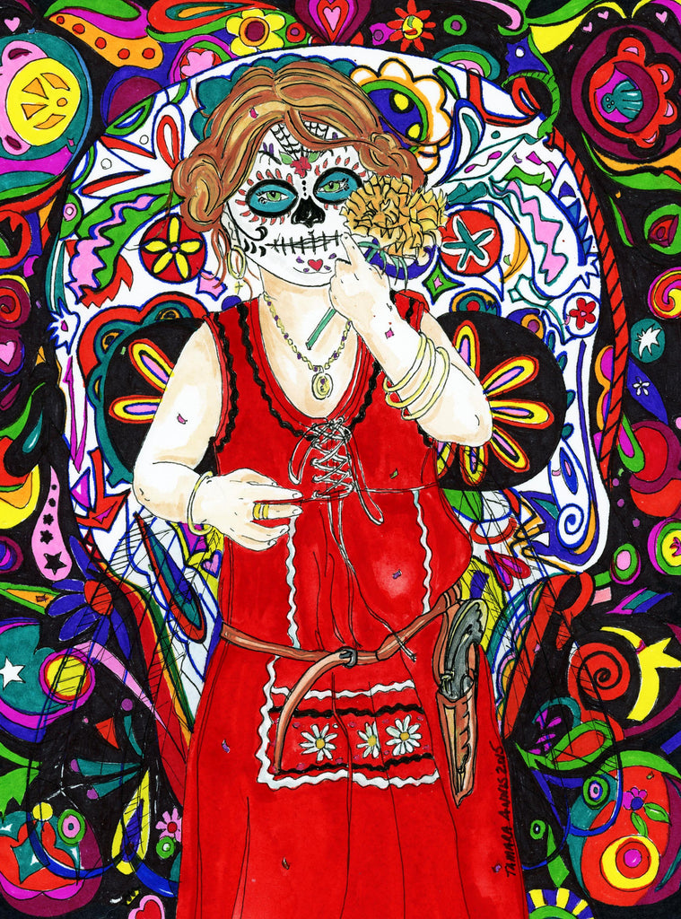 Day of the Dead Art- Young girl in red dress and cowboy gun wearing day of the dead mask