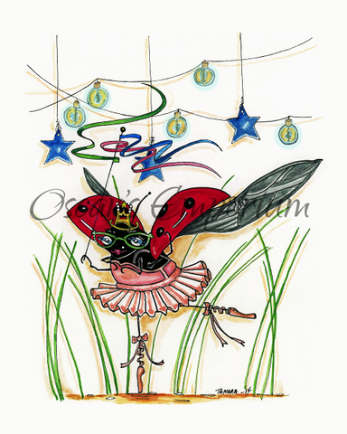 Woodland Creature  Art- Leggy ladybug in a pink tutu dancing among the grass Southmore Shore