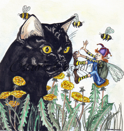 Fairy Art- Fairy sitting on a flower playing with black cat
