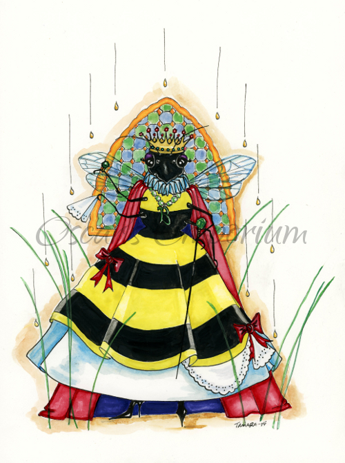 Woodland Creature  Art- Queen Dew Bee in a crown with sceptar Southmore Shore