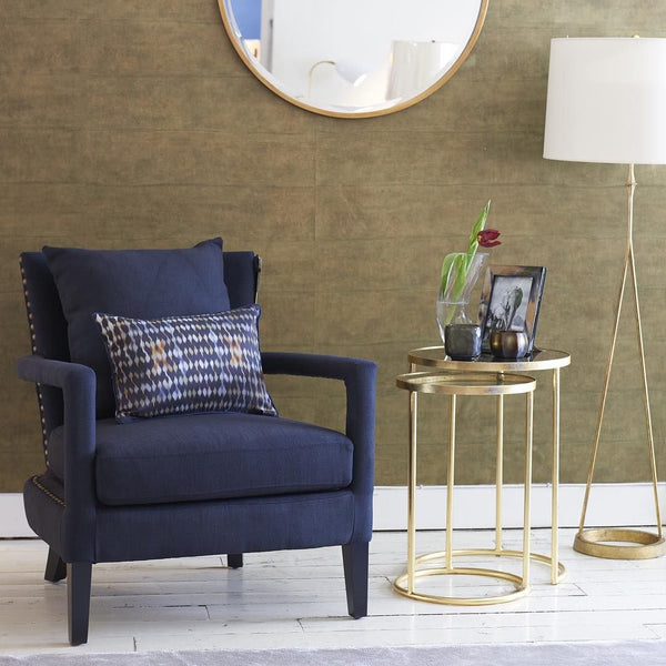 Dauphine Floor Lamp with Portobello Armchair and Nesting Table