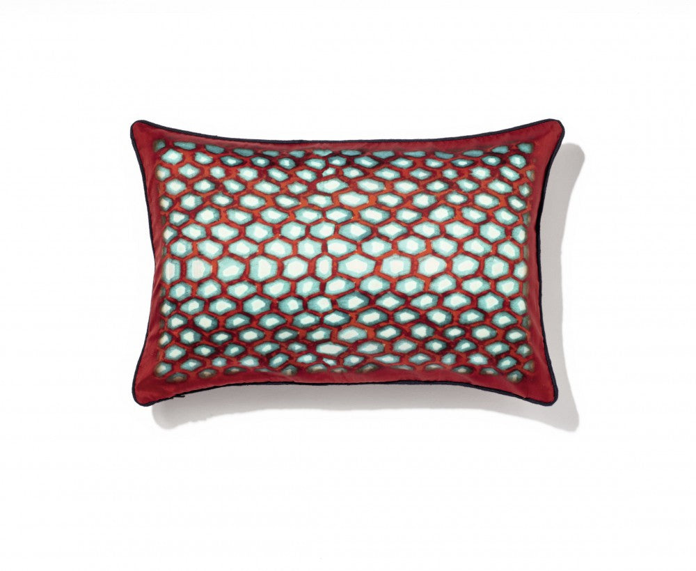 Ambre Red Blue and white silk cushion