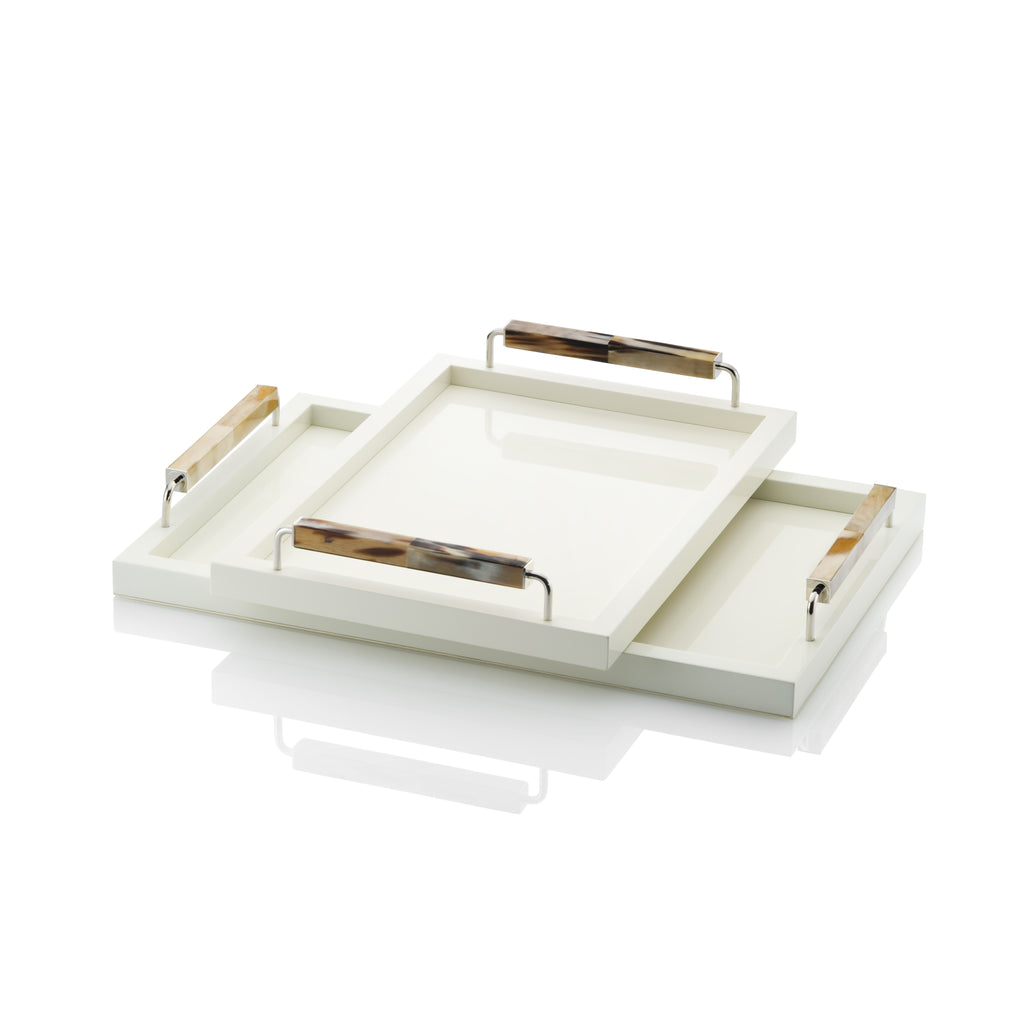 Acra white Lacqured Horn Tray Small and Medium