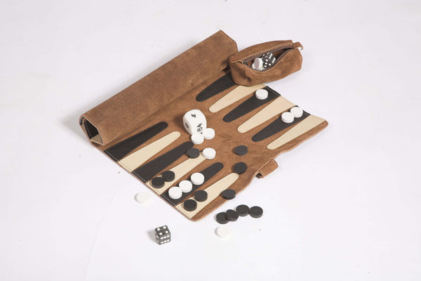 Backgammon suede roll up set