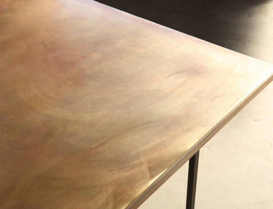 Brass table shown from top