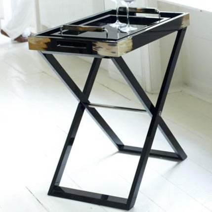 Arca Horn Butler Stand Table, with tray and glasses