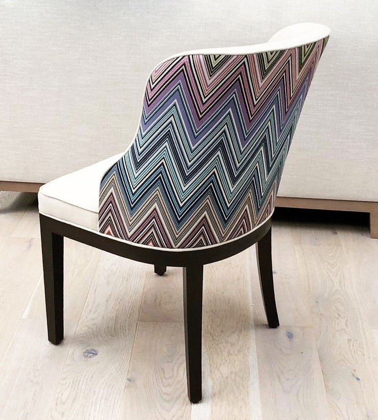 Deco Curved Back Dining chair with Missoni Fabric
