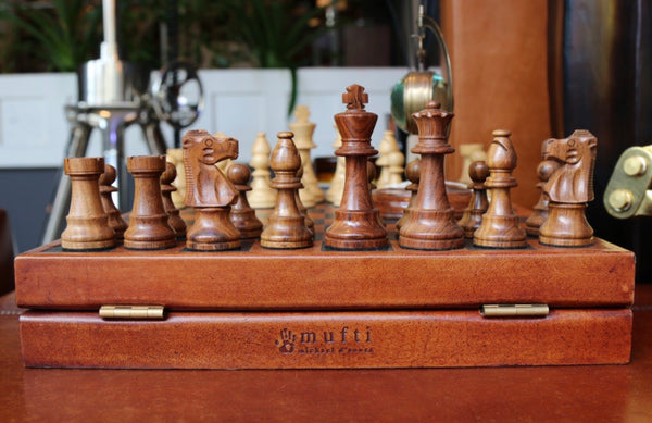 Chess set from back with mufti logo