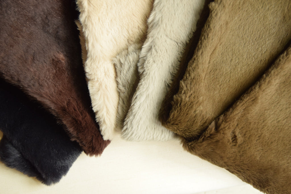Rabbit Fur and Raw Silk Throw Colour Options