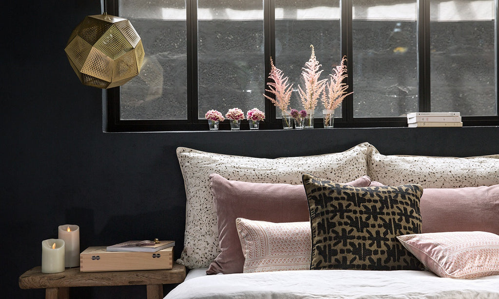 Crossway cushion in pink and nude environment