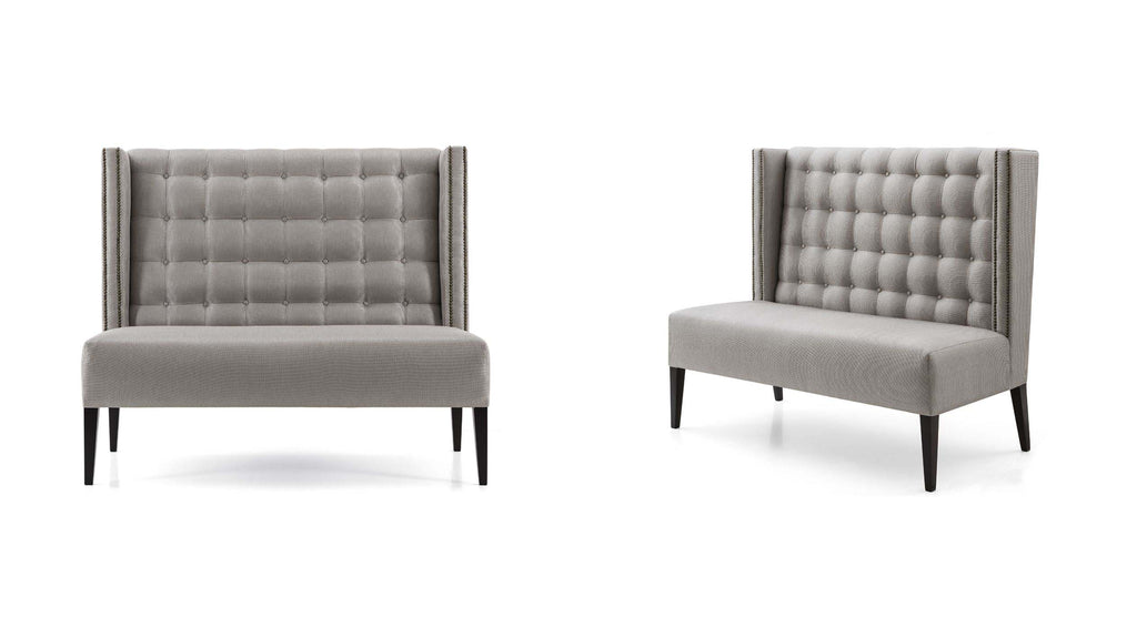 Grey Highback bench front and side