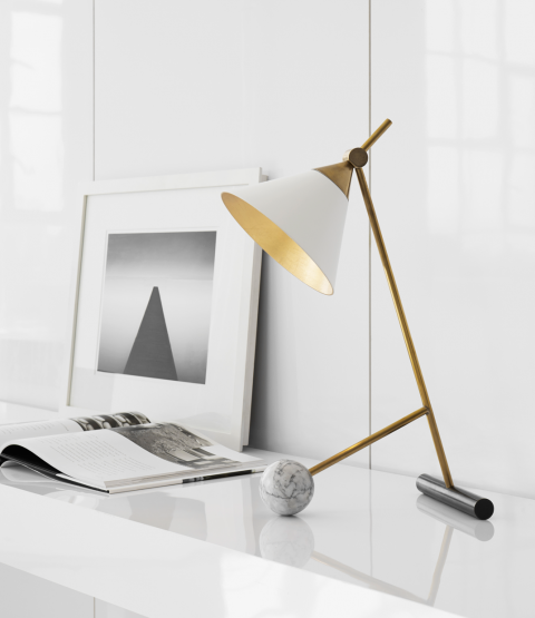 Cleo Table Lamp on desk with picture