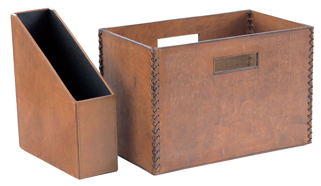 Havana Magazine File with Magazine Basket in brown