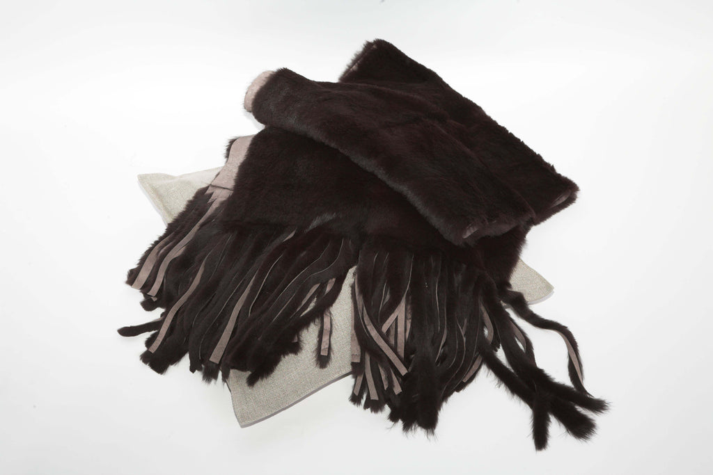 Black Rabbit Scarf and cushion