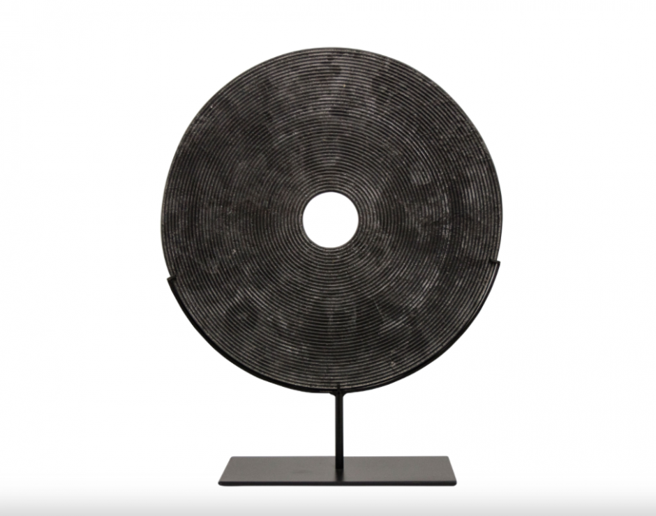Yubi Decorative Black Marble Disk Small