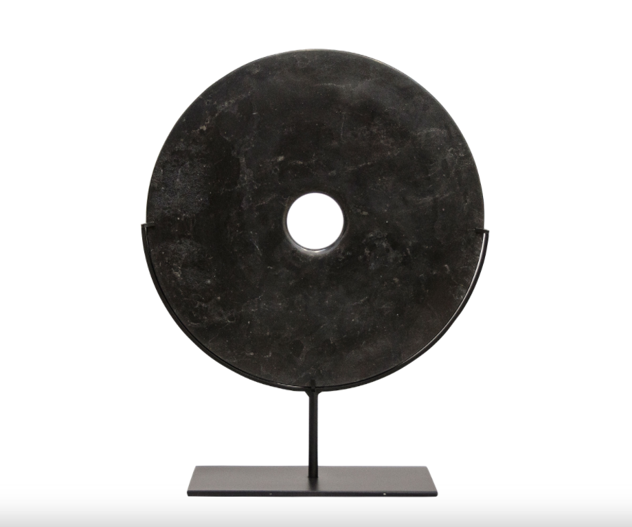 Yubi Decorative Black Marble Disk Medium