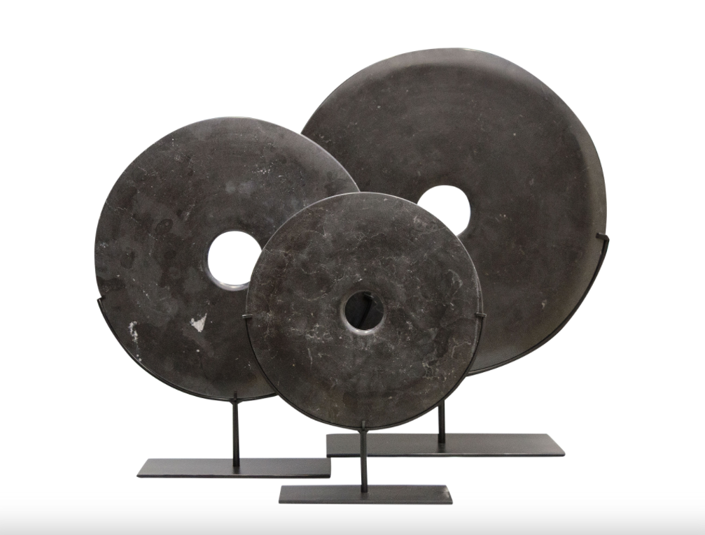Yubi Decorative Black Marble Disks Small Medium and Large