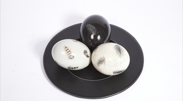 Hand Painted Ostrich Eggs on black Leather plate