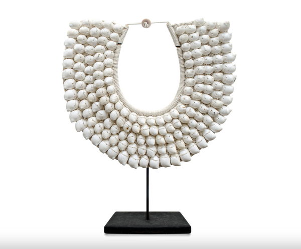 Snow White Shell Necklace on Stand