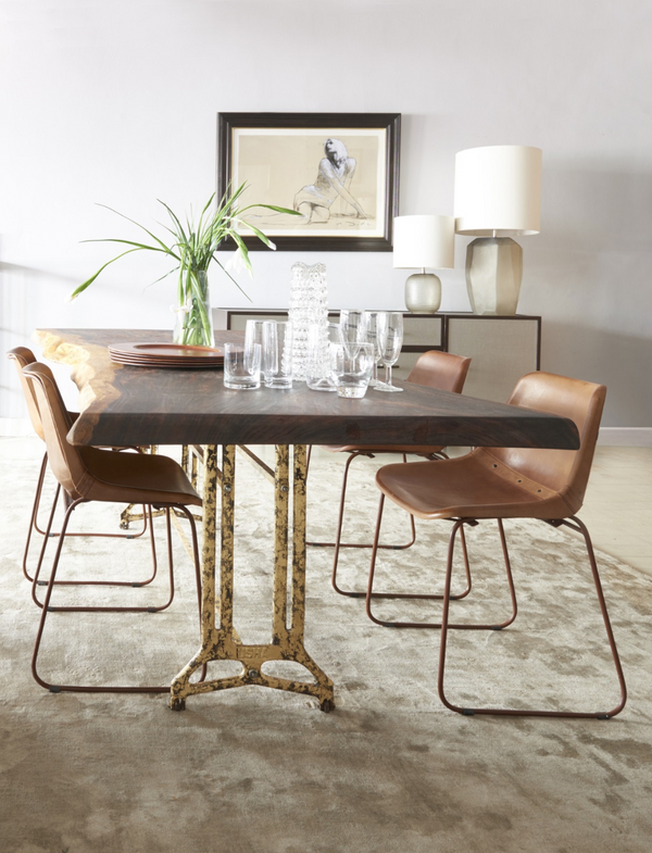 Shikari Raw Wood Dining Table in Dining room with Decor