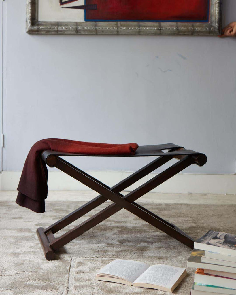 Shikari Leather Stool with red throw