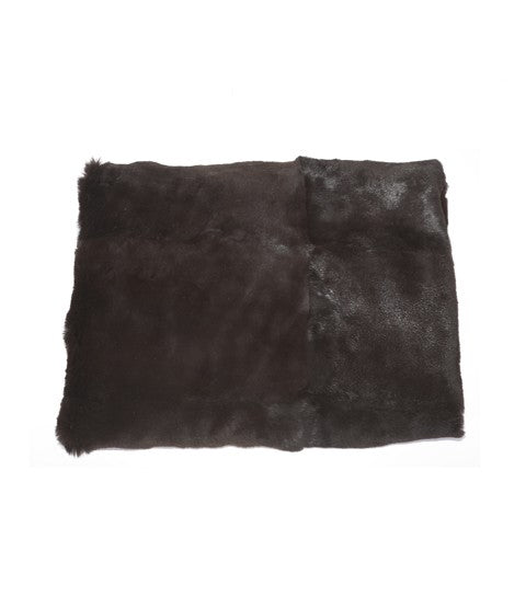 Rabbit Fur and Raw Silk Throw Black