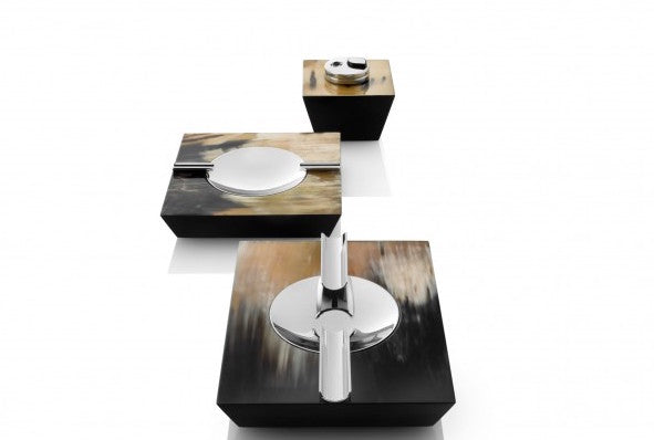 Trapezium Horn Cigar Ashtray with lighter and other Ashtray